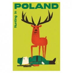 Hunting in Poland, postcard...