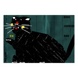 Black cat's day, postcard...
